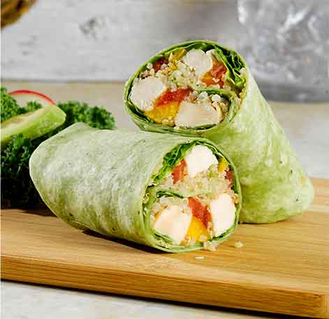 Mama Lola's spinach tortillas used for a healthy chicken wrap