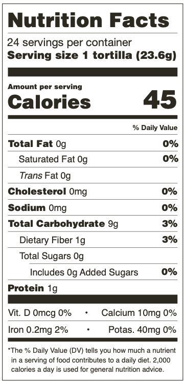 Nutrition Facts for Mama Lola's White Corn Tortillas