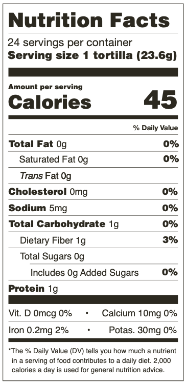 Nutrition Facts for Mama Lola's Yellow Corn Tortillas