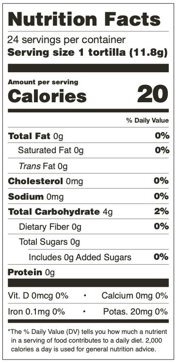 Nutrition Facts for Mama Lola's Mini Corn Tortillas