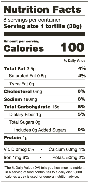 Nutrition Facts for Mama Lola's Whole Wheat Tortillas