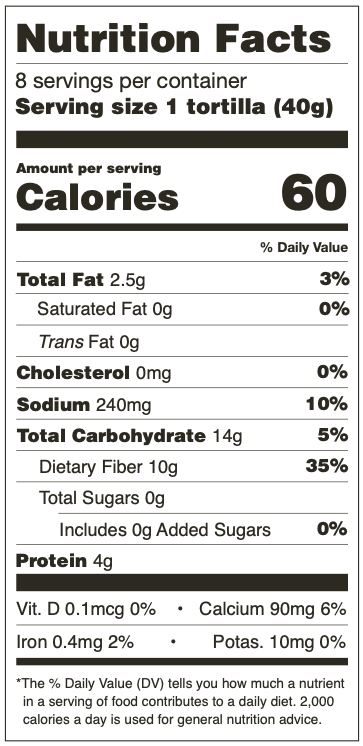 Nutrition Facts for Mama Lola's Low Carb Tortillas