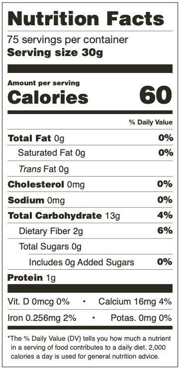 Nutrition Facts for Mama Lola's Masa