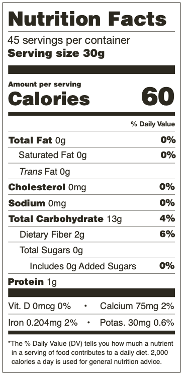 Nutrition Facts for Mama Lola's Nixtamal